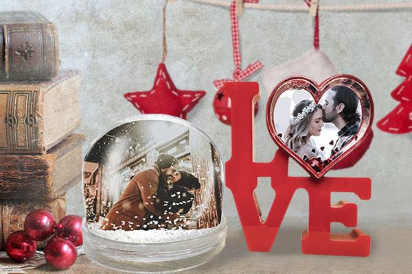 Снежный шар и рамка Love